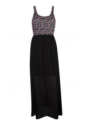 Макси платье в пол шифон цветочный принт
