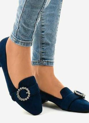 Сині замшеві туфлі на каблуку 7078-p