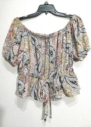 Укороченная блуза с открытыми плечами, uk8, s