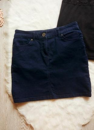 Короткая синяя темная джинсовая юбка мини стрейч с молнией карманами вставками кожзам