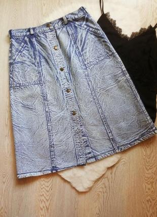 Джинсовая синяя голубая юбка длинная миди трапеция варенка с пуговицами спереди карманами