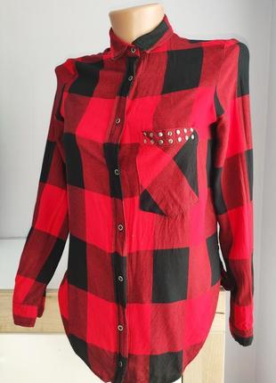 Красная рубашка в клетку от zara