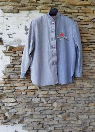 Эксклюзивная котоновая с вышивкой и очень красивыми пуговицами рубашка большого размера