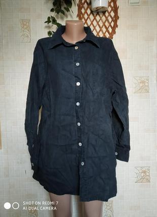 Базовая черная рубашка, 100% лён