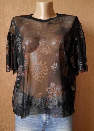 Новая с биркой блузка органза необработанные края свободный стиль размер 10-12 zara