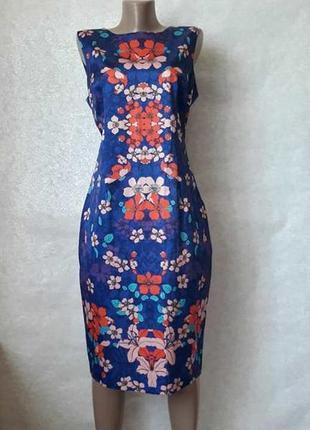 Фирменное f&f стильное нарядное яркое платье-миди на 44 % хлопок, размер хл
