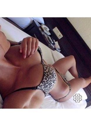 Гладкий бюст і трусики-американки в леопарді