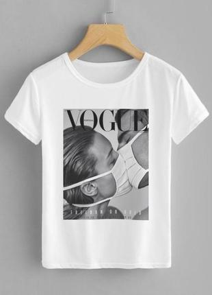 Скидка, футболка с принтом vogue белая женская хлопковая