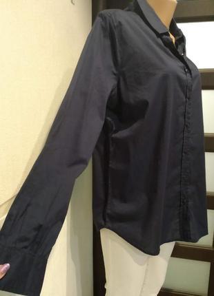 Тонкая лёгкая темно-синяя рубашка кофта блузка