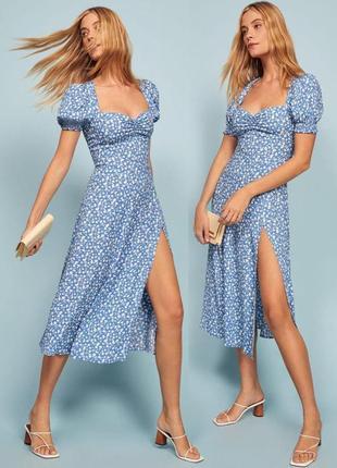 Распродажа платье миди с разрезом и сборкой на груди как reformation с asos