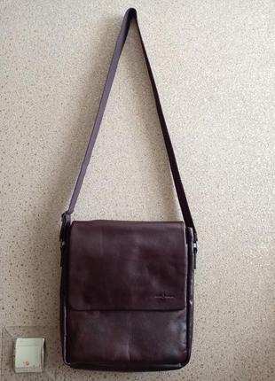 Jasper conran мужская кожаная сумка на длинном ремне 100% кожа.