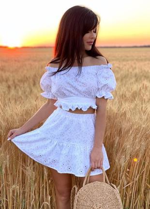 Жіночий костюм двійка з бавовни топ з рюшами шорти спідниця