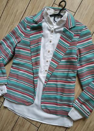 Стильный жакет пиджак кардиган в полоску