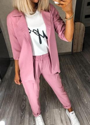 Льняной свободный стильный костюм пиджак жакет и брюки лен