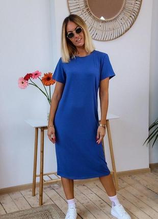 Синее платье футболка удлиненная / цвета / супер цена 🔥