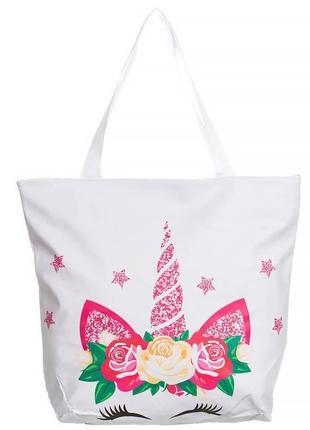Пляжная сумка принт единорог 🦄