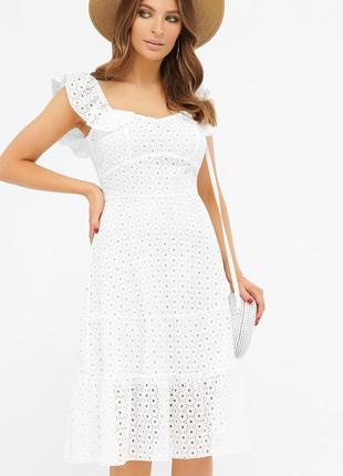 Белый женский сарафан, платье миди из прошва