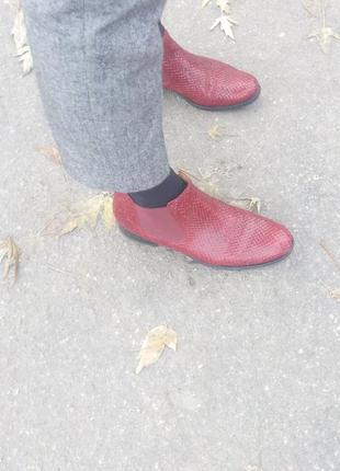 Ботинки сапоги челси gabor р. 40, 41 красные кожа натуральная