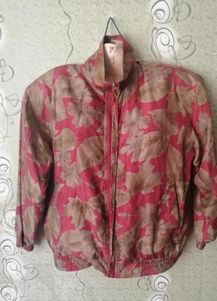 Шёлковая курточка в листья, винтаж.
