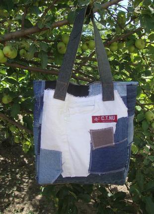 Текстильная джинсовая сумка натуральная из ткани лоскутная супер модная