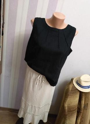 Лен, вискоза☘️шикарная блуза , льгяная майка, топ футболка, большой размер, батал, бохо,