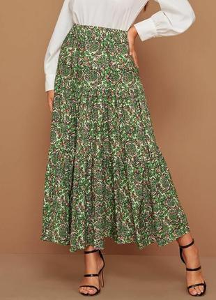 Красивая принтованная юбка 100% катон