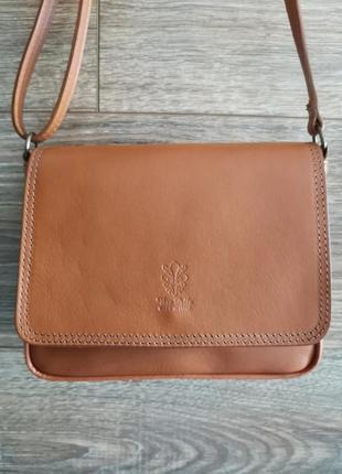 Женская сумка через плечо из натуральной кожи vera pelle italy