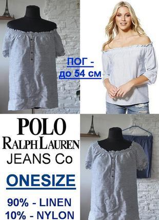 Блузка с открытыми плечами от именитого бренда polo jeans co ralph lauren