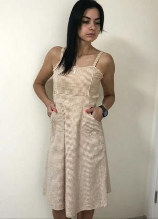 Хлопковое клетчатое платье сарафан в клетку клеточку на замочке винтаж ретро