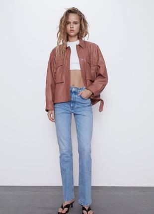Новая кожаная куртка zara, пиджак, жакет из экокожи