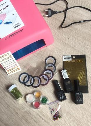 Набор для гель лака набор : гель лак, дизайн ногтей втирка лампа декор
