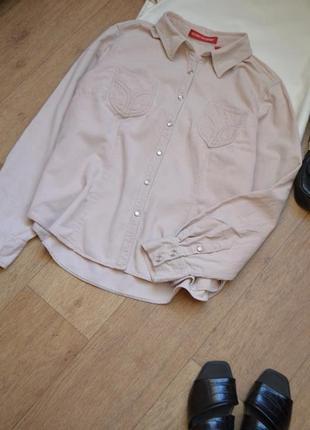 Gloria vanderbilt вельветовая рубашка бежевая с длинным рукавом свободная