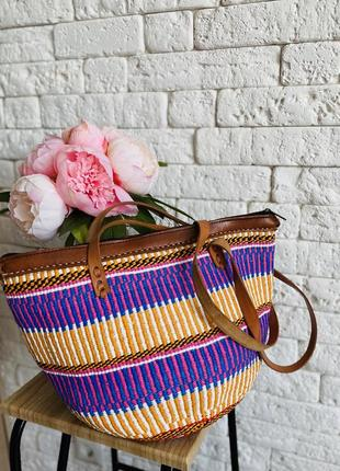 Шикарная плетёная сумка, пляжная плетёная сумка, яркая летняя сумка из кожи