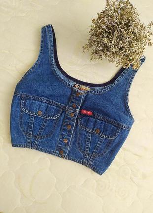 Топ джинсовый джинсовка жилетка на кнопках топ кофта