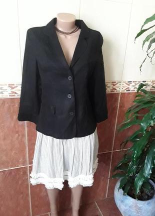 Льняной жакет  в рубашечном стиле