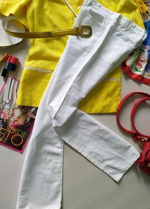 Белые винтажные длинные прямые брюки, облегченные джинсы, тонкий хлопок лен, высокая талия