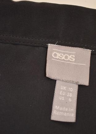 Asos боди блузка в бельевом стиле черная с воротником с  рукавом стильная рубашка 385 фото