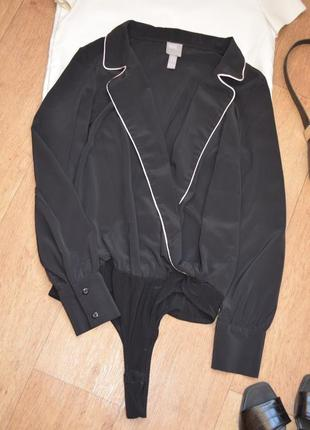 Asos боди блузка в бельевом стиле черная с воротником с  рукавом стильная рубашка 387 фото