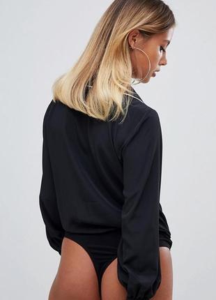 Asos боди блузка в бельевом стиле черная с воротником с  рукавом стильная рубашка 388 фото
