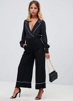 Asos боди блузка в бельевом стиле черная с воротником с  рукавом стильная рубашка 381 фото