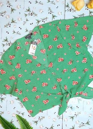 🌿1+1=3  модная зеленая блуза блузка в цветочный принт primark, размер 50 - 52