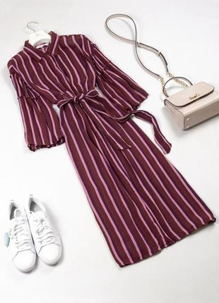 Стильное летнее платье рубашка миди под пояс с красивыми рукавами из вискозы s m