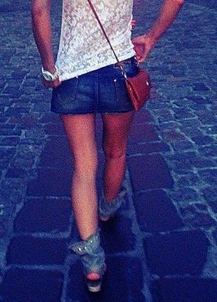 Джинсовая юбка, джинсовые босоножки 36р.