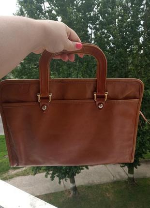 Винтажная сумка для документов из натуральной кожи