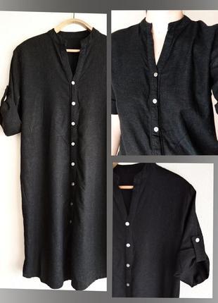 Новинка!!! льняное платье-рубашка. большие размеры