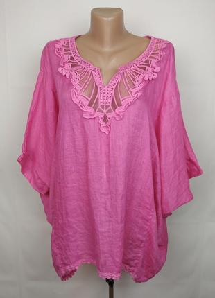 Блуза рубаха кимоно розовая льняная итальянская 100% лён кружево