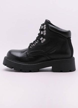 Качественные кожаные ботинки vagabond черные массивные  полусапоги на шнурках