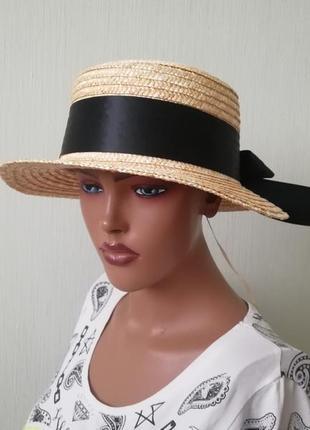 Хит лета! шляпа канотье солома с широким бантом 56-58