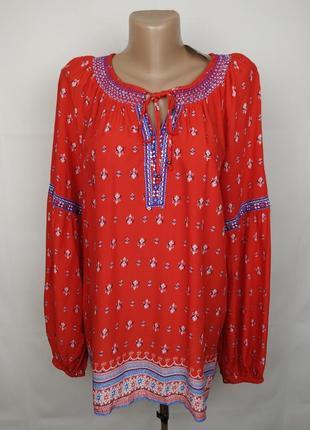 Блуза вышиванка новая красная шикарная в орнамент marks&spencer uk 16/44/xl