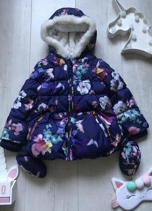 Куртка в цветочный принт 1,5-2 года